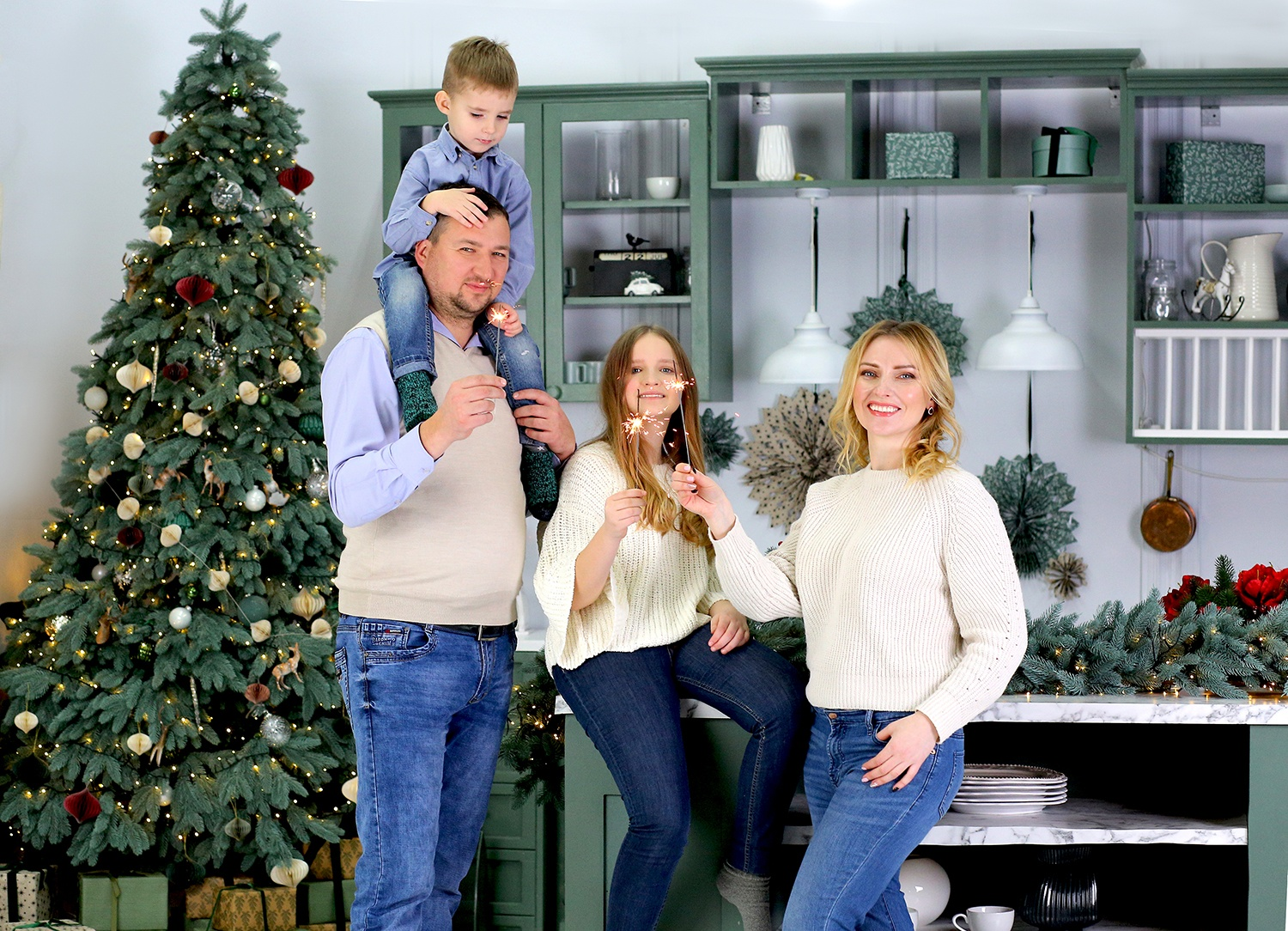 Happy family celebrates New Year and Christmas